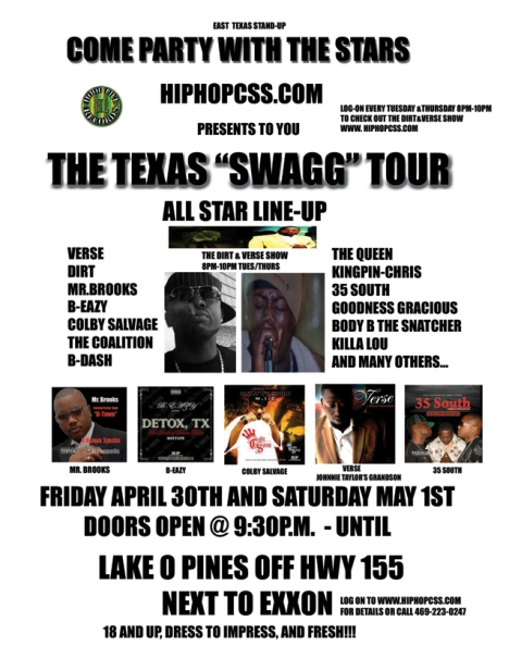 "HipHopCSS.com presents THE TEXAS ""SWAGG"" TOUR"